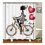 AnazoZ Duschvorhang Anti-Schimmel, Wasserdicht Vorhänge an Badewanne Antibakteriell, Bad Vorhang für Dusche 3D Blume Mädchen Fahrrad, 100% PEVA, inkl. 12 Duschvorhangringen 165 x 180 cm