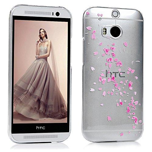 HTC One M8 Hülle PC Hartes Case Lanveni Hardcase Transparant Durchsichtig Handyschale Schutzhülle Handycover Tasche Etui-Muster: Blume