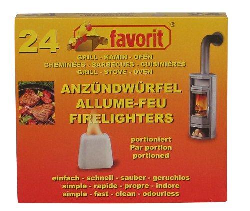 Favorit Feste Anzünder portioniert; Paraffinbasis, brennstark, geruchlos; einzeln portioniert im Tray; 24 Stück - 1224