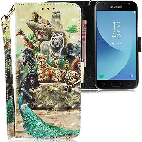 CLM-Tech kompatibel mit Samsung Galaxy J3 2017 Hülle, PU Leder-Tasche mit Stand, Kartenfächern, Lederhülle Kunstleder, Tiere bunt Mehrfarbig
