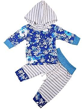Bebé Ropa de Dos Piezas Camiseta Floral Camisa de Capucha Manga Larga Pantalones de Impreso de Raya para Niña...