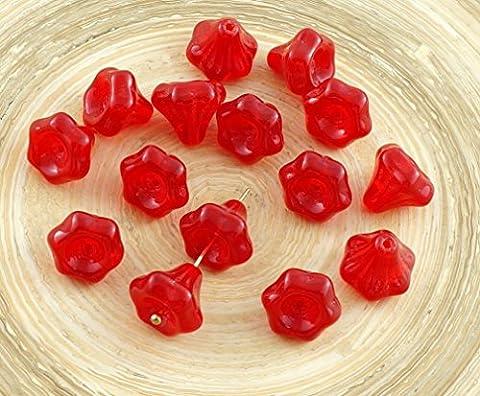 12pcs Opal Red Czech Glass Bell Flower Bead Caps 9mm x 9mm