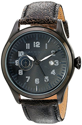 Akribos XXIV Men's AK785BK Swiss Quartz Movement Watch with Black Dial and Leather Strap