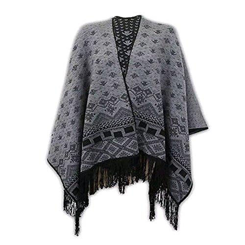 JAVOX Fashion's - Poncho -  donna Black/Charcoal