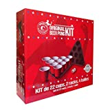 Original Beer Pong Kit Official Premium Quality - 22 Great American Cups (Red 53Cl, Kunststoff) - Triangles mit 2 Plätze (Schwarz, Kunststoff) - Beer Pong-Bälle 4 (weiß, Kunststoff) - Broschüre Pong Bier der offiziellen Regeln