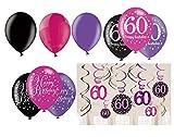 Feste Feiern Geburtstagsdeko Zum 60 Geburtstag | 21 Teile All In One Set Deckenhänger Luftballon Pink Schwarz Violett Party Deko Happy Birthday