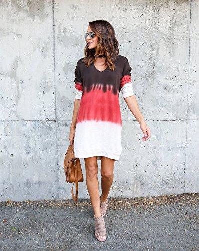 Deep V-neck Knit Top (YELINGYUE Women's Long Sleeve V-Neck Top Short Knit Panel Dress, Multi, M)