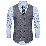 KEERADS Herren Weste V-Ausschnit Vintage Kurzweste Slim fit Sweatweste Anzugweste Basic Mode Businessweste Anzug (S(Etikettengröße L), Grau)