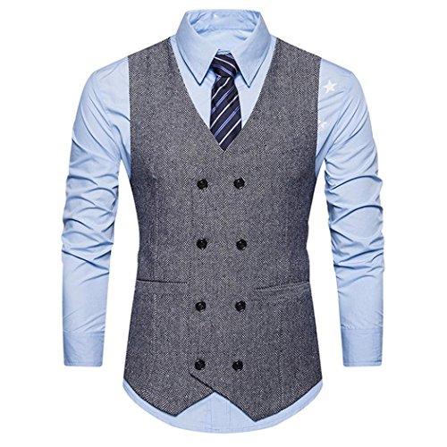 KEERADS Herren Weste V-Ausschnit Vintage Kurzweste Slim fit Sweatweste Anzugweste Basic Mode Businessweste Anzug (M(Etikettengröße XL), Grau) -