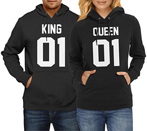 #King Queen 01 SET 2 Hoodies Pullover Pulli Liebe Love Pärchen Schwarz/weiss Front Print (King Gr. L + Queen Gr. L)#