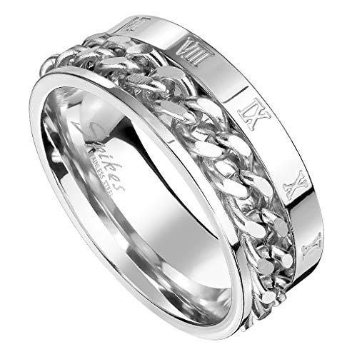 Piersando Herren Band Ring Ketten Style Spinner mit Römischen Zeichen Herrenring Edelstahlring Bandring Größe 70 (22.3) | Silber
