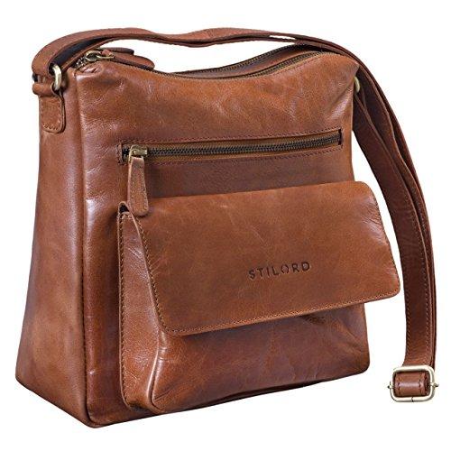 STILORD \'Mira\' Vintage Umhängetasche für Damen 12,2 Zoll Schultertasche Handtasche Ausgehen Freizeit Abendtasche Leder, Farbe:Cognac - glänzend