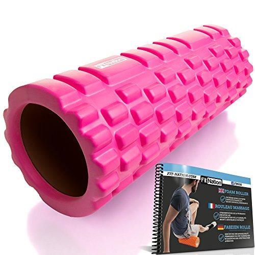 Fit Nation Faszienrolle - Foam Roller Set zur Selbstmassage mit Übungsbuch - Sport Massagerolle Für Anfänger, Profis, Damen & Herren - Rosa