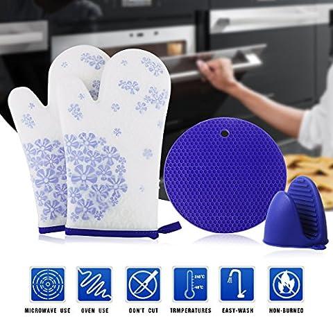 2 Gants pour Four à Micro-ondes, 1 Mini Manique Flexible, 1 Dessous de plat/Verre/Bol/Casserole, Gants de Micro-ondes en Silicone de FDA avec Doublure en Coton Résistant à La Chaleur et Imperméable, pour Cuisine, Cuisson, Grillage, Barbecue (Bleu)