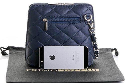 Borsa di cuoio italiano Design classico diamante forma borsa tracolla imbottita, con catena in metallo e cuoio, maniglie / tracolla include una custodia protettiva marca Mini blu marino