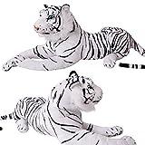Weißer Tiger Wildtier Steppe liegend Plüsch Kuscheltier ca. 80 cm Länge