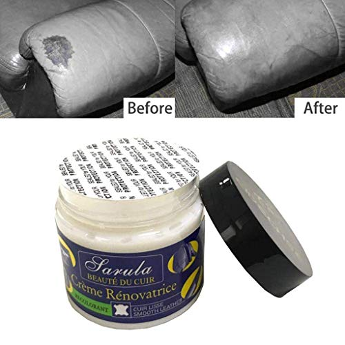 Crema di riparazione in pelle,JIJI886 Riparazione graffi e bruciature su articoli in pelle,riparazione di riparazione di pelle non tossica composto 1Pc crema di riparazione in pelle+2Pc spugna (90 gr)