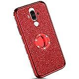 YSIMEE Compatibile Cover Huawei Mate 9,Custodie Trasparente Brillantini Glitter Anti-Giallo con Rinforzato Placcatura TPU Silicone Protettivo Morbida Ultra Sottile Antiurto Case con Anello,Rosso