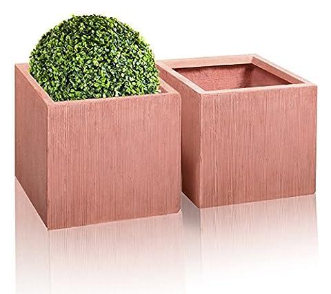 Textured Fibrecotta Fibreclay Cube Planters - 2x