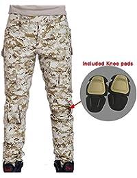 Worldshopping4U Pantalones de Combate BDU para Hombre con Rodilleras Digitales Desierto AOR1 para táctico ejército Militar