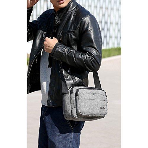 Outreo Taschen Sport Schultertasche Herren Umhängetasche Vintage Messenger Bag Retro Kuriertasche Schule Herrentaschen für Reisen Grau