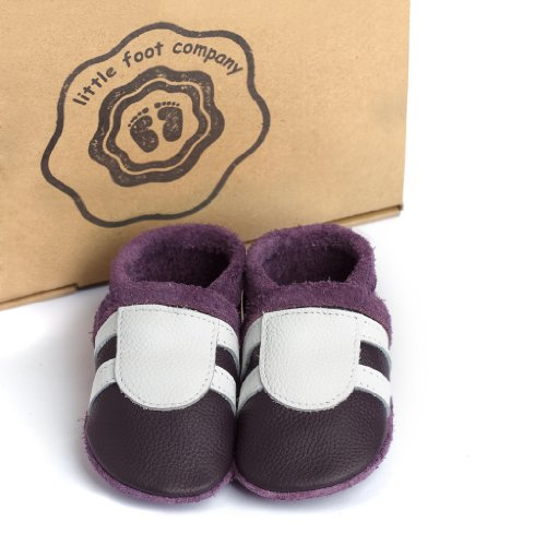 little foot company®, handgemachte Markenqualität aus Deutschland, weiches Komfortleder, Krabbelschuhe, Babypuschen in pflaume