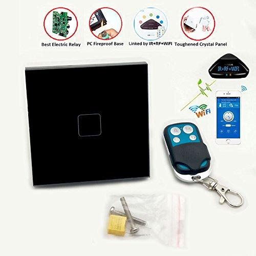 Smart Touch Bildschirm Switch, Touch Panel/Fernbedienung Smart Light Switch 1Gang 1Way Kristall-Glas Panel Home Wand-Leuchte Schalter nur leben & neutral Verkabelung erforderlich–leicht erweitern Lichtschalter