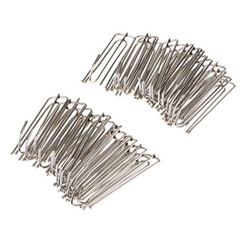 non-brand Sharplace 30 Stk. Edelstahl Gardinenröllchen Gardinenrollen Clilps Zubehör für Vorhang Gardinen - Silber - Metall