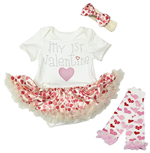 Petitebelle Baby Mädchen (0-24 Monate) Kleid Body beige beige Gr. 12-18 Monate, beige (24 Monate Girl Valentine Outfit)