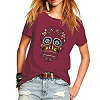 Weigou Woman T Shirt Floral Skull Contrast Color Junior Tops Tee Punk Street Style Lady Shirt (XXL, Wine Red)