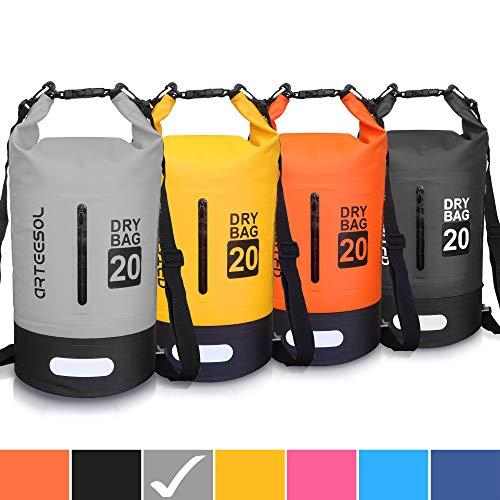 ARTEESOL Dry Bag - Waterproof trockener Beutel/Sack Wasserdichte Tasche mit Langem justierbarem Bügel für Kayaking Boots-Ausflug Kanu/Fischen/Rafting/Schwimmen/Snowboarding (Grau-Schwarz, 20L) -