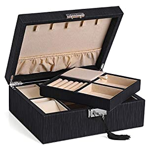 SONGMICS Schmuckkästchen, verschließbarer Schmuckkasten, für Halsketten, Armbanduhren, Fach mit Deckel, Herausnehmbare Trennwand, Geschenk für die Liebsten, Schwarz JBC235BK