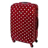 Karry XL Hartschalen Reise Koffer Trolley TSA Schloss Polycarbonat 85 Liter Rot Punkte 813 / 818