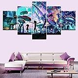 Mddrr Wohnkultur Leinwand Malerei Abstrakte Wanddekor 5 Panel Animierte Komödie Rick Und Morty Gemälde Moderne Bild Wandkunstrahmen