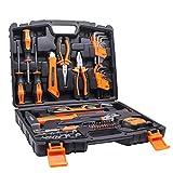 Werkzeugsatz, TACKLIFE Multi Haushalts-Werkzeugkoffer 68Pcs, Inkl. Hammer, Schraubendreher, Innensechskantschlüssel uzw, Perfekt für alle DIY anfallenden Arbeiten rund um Haus -HHK2A