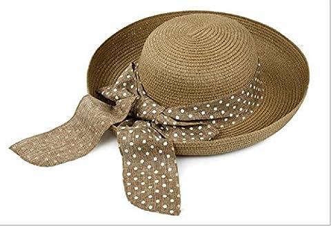 LQABW Dames Chapeau De Soleil Dot Blossom Ceinture Big Beach Lapin Charrie Chapeau De Paille,Brown