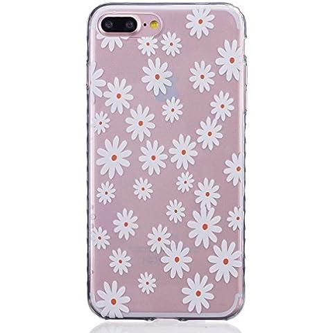 Cover per iPhone 7 Plus Silicone Morbido, Moonmini® Custodia Gomma Morbida Ultra Sottile Scocca Gommosa Ultraslim Soft TPU Gel - White Daisy Flower