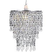 Pendentif 3 niveaux WanEway, abat-jour chandelier de plafond avec gouttelettes bijoux en acrylique, abat-jour en billes avec contour de chrome et billes étincelantes, diamètre 22 cm, chrome