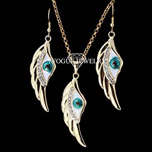 GOMO Big Size Lucky Angel Wing Evil Eye 18K Gold Plated Rhinestone Pendant Necklace and Earrings Jewelry Set