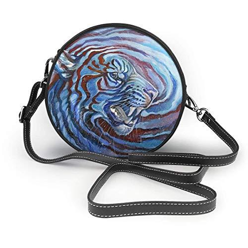 Crossbody Taschen Women's Summer Round Bag, Starry Sky Tie Dye Siberian Tiger King Blue Fashion Crossbody Shoulder Handbag Sling Purse (Tie-dye Blue Sky)