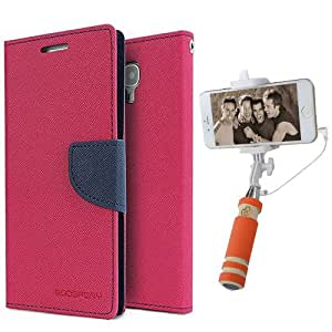 Aart Fancy Diary Card Wallet Flip Case Back Cover For Samsung E7 - (Pink) + Mini Aux Wired Fashionable Selfie Stick Compatible for all Mobiles Phones By Aart Store