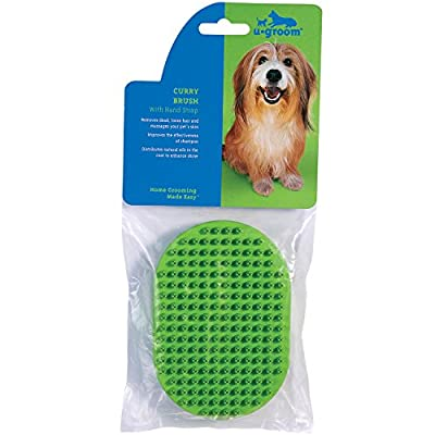 u groom US354 14 Rubber Curry Brush Oval with Handstrap