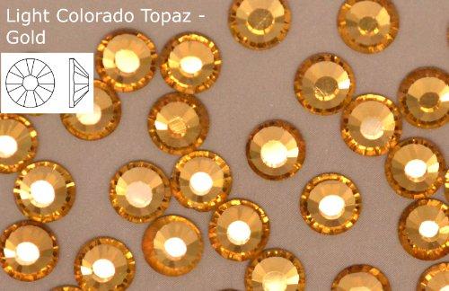 EIMASS 100Stück Strass A-Grade Rucksack flach-Auffangschale Papier Aluminium- und zu Befestigung ideal für verschönern Ihre Kleidung/Taschen/Schuhe/Bezüge, Light Colorado Topaz - Gold, ss10 (3mm)