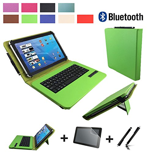 3in1 Starter set für Archos Diamond Tab (2017) Bluetooth Tastatur Hülle | Schutz Folie| Touch Pen | 10.1 Zoll Grün Bluetooth 3in1