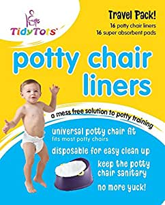 Tidy Tots Disposable Potty Chair Liners - Travel Pack - Fits All Potty Chairs - 16 Liners and 16 Super-absorbent Pads
