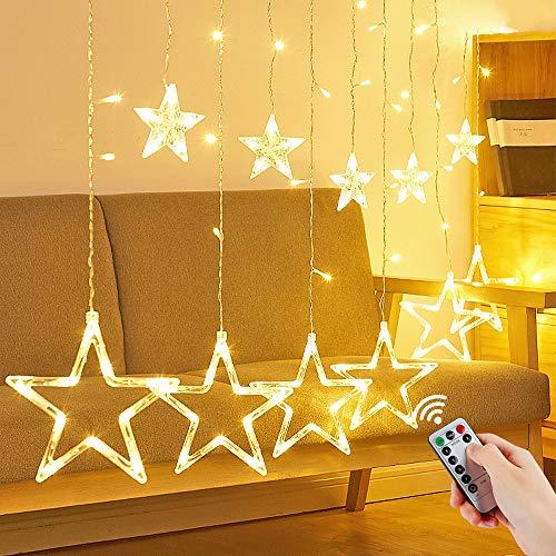 LED Lichtervorhang Sterne, Vivibel Lichterkette mit LED Kugel 12 Sterne 138 Leuchtioden Fenstervorhang Lichter 8 Modi, Innen & Außen Wasserdicht Deko für Weihnachten, Zimmer, Party, Warmweiß