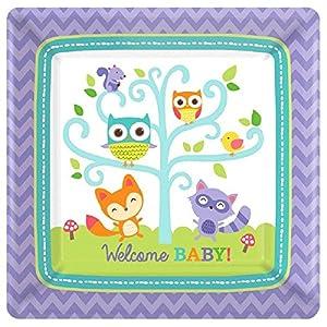 Amscan 54145218cm Platos de papel cuadrados (de bienvenida Woodland