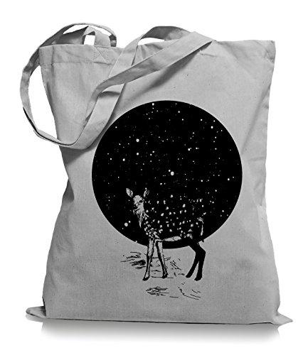 Deer Moon Stoffbeutel | Hirsch Tragetasche Mond Reh Light Grey