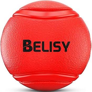 BELISY Balle Rebondissante Chien ? Balle Chien Indestructible ? Jouet pour Grands et Petits Chiens ? Ballon Chien Solide ? Convient pour Chiots - Fabriqué en Caoutchouc Naturel & Écologique - Couleur Rouge