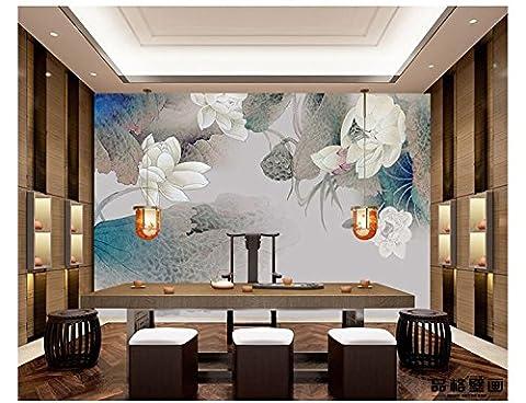 HUANGYAHUI Handbemalten Blumen, exquisite Tinte, Lotus Tapeten, Hotel Restaurants, Wohnzimmer Sofa, Fernseher Hintergrund, Tapeten, Wandbilder-250cmX175 cm